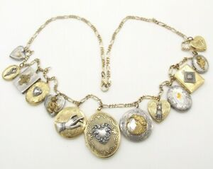 """Thirteen Vntg Ornate Picture/Photo Lockets w/28"""" Gold-P Figarucci Chain Necklace"""