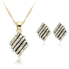 Wonderful Cut Wedding Jewelry Rhinestones Glass Pendent Necklace Earrings Set