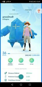 Pokémon Go account shiny regice landorus regigigas registeel celebi pichu