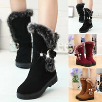 Fashion Winter Women Snow Boots Fur Lined Warm Buckle Casual Mid Calf Shoes Size