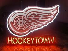 "New Detroit Red Wings Hockey Town Neon Light Sign 17""x14"""