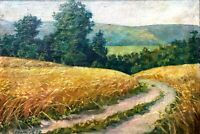 painting art socialist realism vintage landscape field Wheat socrealizm harvest