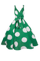 Ladies Retro Vintage 50s Swing Big Polka Dot Rockabilly Dress