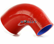 """Silicone 90 Degree Reducer Elbow Joiner Hose Turbo Pipe 51mm-64mm 2""""- 2.5"""" Red"""