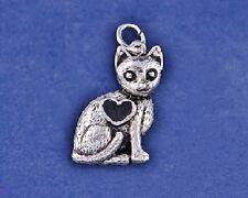 Cat Charm Pendant Sterling Silver Plt Kitten Kitty Lover Rescue Antique Heart