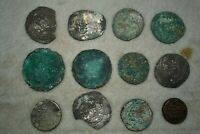 Lot Sale 12 Ancient Islamic & Sasanian Silver & Bronze Coins