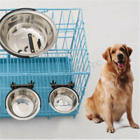 Pet Dog Cat Stainless Steel Hanging Food Water Bowl Feeder For Crate Cage