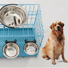 Pet Dog Cat Stainless Steel Hanging Food Water Bowl Feeder For Cage UK ☆  t