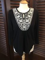 Lucky Brand Women's Top Black W/ White Embroidered Bodice Keyhole Shirt Size M