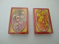 NEW Vintage Lot 2 Sealed Decks Trump Playing Cards NOS 70's Floral Daisies