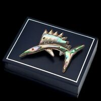Antique Vintage Deco Retro Sterling Silver Mexican TAXCO Abalone Fish Pin Brooch