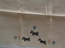 Scotty Scottie Dog Black Embroidered Dogs Linen Hand Towel