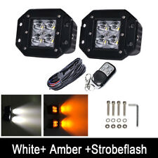 2x 24W Amber/White/Strobe LED Work Light Flush Mount Spot Pods & Harness Kit