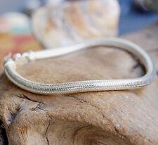 Silberarmband 19,5 cm Ø 5,3 mm Rund Silber Schlangenkette Armband Handarbeit