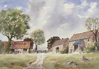 John A. Case - 20th Century Watercolour, Cotswold Farm Buildings