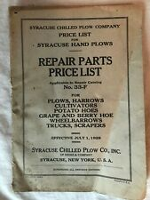 Vintage 1929 Syracuse Chilled Plow Price List Applicable to Repair Cat. No. 33F