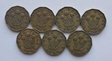 World War II WW2 British Coins Threepence Full Set 1939-1945