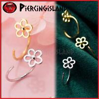925 Sterling Silver Gold GP Filigree Flower Ear Open Ring Hoop Earring Piercing