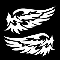 Flügel Aufkleber Motorrad Auto Vogel Sticker Außenspiegel Weiß Silber Tribal