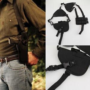 Military Tactical Shoulder Pistol Gun Holster Magazine Pouch Bag Black UK