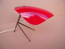 Vintage Design Tripod Tischleuchte 50er 60er rot Messing Plexiglas Mid Century