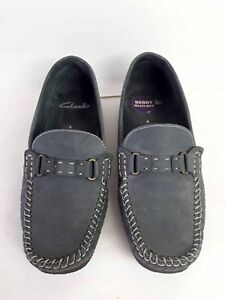 Clarks Nubuck Leather Slip On Moccasin Flats - In Grey - Size 4