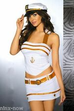 White & Gold Sexy Sailor Women's Fancy Dress Costume with Hat