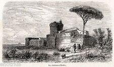 OSTIA ANTICA: Rocca o Castello di Giulio II. Roma.Agro Romano.Stampa Antica.1860