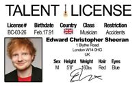 Edward Ed Sheeran London UK collectors card Drivers License novelty fake id card