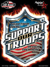 AUTOCOLLANT SUPPORT OUR TROOPS  -STICKER VINYL DECORATION USA / BIKER / HARLEY