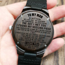 To My Man Day I Met You Engraved Wooden Watch Husband Anniversary Birthday Gift
