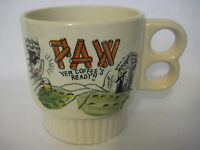 Vintage Hand Painted Paw Yer Coffee's Ready! Novelty Coffee Mug, Made In Japan
