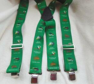 "Fly Fishing Green Stretch Adjustable Clip Elastic Suspenders  2""  Fish Flies EUC"