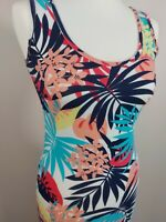 Boohoo Maxi Tropical Floral Summer Dress UK 1O Strap Sleeveless Holiday