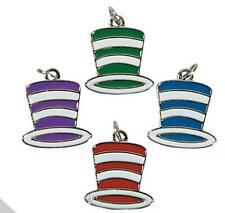 4 Cool Striped Top Hat Enamel Charms  Red, Blue, Green and Purple Great Charms