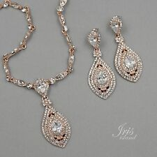Rose Gold Plated Crystal CZ Necklace Pendant Earrings Wedding Jewelry Set 09951