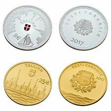 ESTONIA 8 € SILVER & 25 € GOLD COLLECTOR COIN SET 2017 - Hanseatic Tallinn
