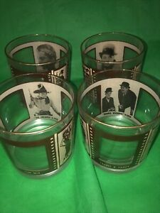 Roaring 20s Glasses Bar Rocks Whiskey Lowball Hollywood Film Set Of 4 Vintage