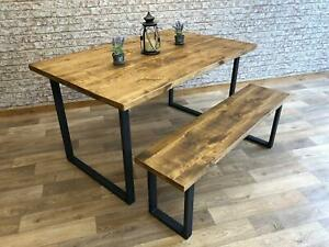 Industrial Dining Table Square Frame Steel Kitchen Rustic Table