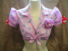 Pink polka dot floral puff sleeve crop tie up blouse! 1930's,1940's,rockabilly!