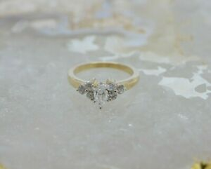 Sale Size 7 Estate 10k Yellow White Gold Marquise Setting .50ct Diamond Ring Cluster GS1401-2
