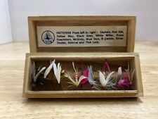 Vtg Feather Fishing Lures Japan Wood Box Red Eye Wood & Feather Silver Minnow +