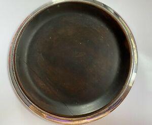 """Vintage Sterling Silver & Wood Large Format Magnum Wine/Champagne Coaster 7 1/2"""""""