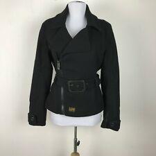 G-Star Raw Jacket Coat Size S Black Motorcycle Buckle Womens Heavy Wool Blend