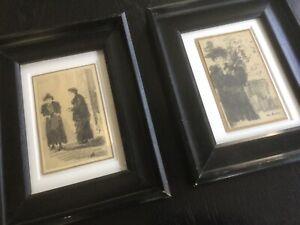 Zwei alte Zeichnungen, Kohlezeichnung, Skizzen, signiert, um 1900, Kunst, Antik