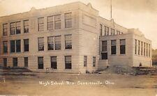 New Straitsville~Brand New High School~Saw Horse, Dirt Pile~No Trees RPPC c1920
