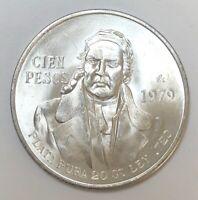 1979 Mexico 100 Pesos 0.643oz Silver BU/AU Coin