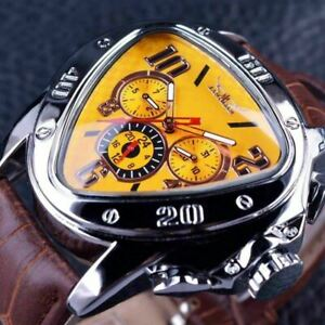 Luxury Men's Self-winding Mechanical Automatic Triangle Dial Leather Wrist Watch