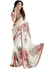 Red Floral Bollywood Saree Party Wear Ethnic Wedding Designer Sari