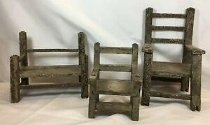 3 Antique Primitive Folk Art Wood Doll Chairs Chippy Paint Furniture Cottage